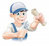 stock photo of convocation  - Plumber or mechanic with certificate qualification or other scroll and wrench - JPG