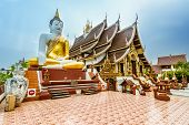 stock photo of budha  - Thai Buddhist Temple in Chiang Mai - JPG