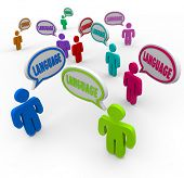foto of dialect  - Language Words Speech Bubbles Diversity People Backgrounds - JPG