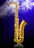 picture of saxy  - Gold saxophone on blue background with smoke - JPG