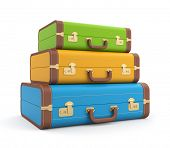 stock photo of porter  - Three vintage suitcase - JPG