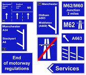 stock photo of m60  - A collage of motorway regulations information signs - JPG