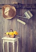 image of quaint  - The potting shed with hanging straw hat and garden tools  - JPG