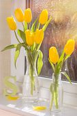 Spring tulips in retro glass bottles with letter S in the background