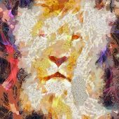 Abstract Lion Collage Painting