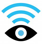 Vector icon of eye with wireless signal isolated on white background