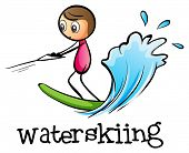 Illustration of a stickman waterskiing on a white background