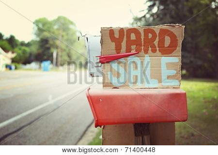 Yard Sale sign on a mailbox