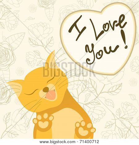 Cute Romantic Card With Tender Cat Who Licks The Screen
