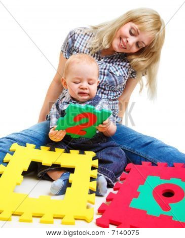 Mom And Son Playing