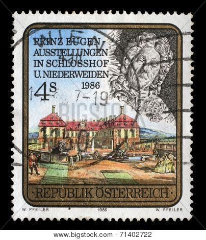 AUSTRIA - CIRCA 1986: A stamp printed in Austria, devoted to the Prince Eugen Exhibition, Schlosshof and Niederweiden, circa 1986