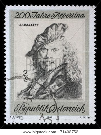AUSTRIA - CIRCA 1969: a stamp printed in the Austria shows Self-portrait, by Rembrandt, Bicentenary of Etching Collection in the Albertina, Vienna, circa 1969