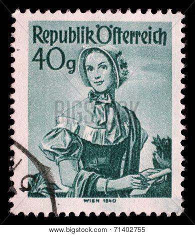 AUSTRIA - CIRCA 1948: A stamp printed in Austria from the