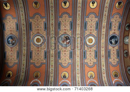 TRAVNIK, BOSNIA AND HERZEGOVINA - JUNE 11: The frescoes on the ceiling of the church of St. Aloysius in Travnik, Bosnia and Herzegovina on June 11, 2014.