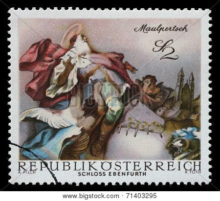 AUSTRIA - CIRCA 1968: a stamp printed in the Austria shows St. Leopold Carried into Heaven, by Maulpertsch, Baroque Fresco, Ebenfurth Castle Chapel, circa 1968
