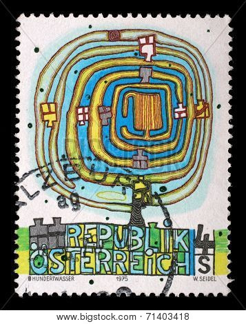 AUSTRIA - CIRCA 1975: a stamp printed in the Austria shows The Spiral Tree, by Friedenstreich Hundertwasser, circa 1975