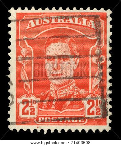 AUSTRALIA - CIRCA 1942: A stamp printed in Australia shows portrait of King George VI, without inscription, from the series