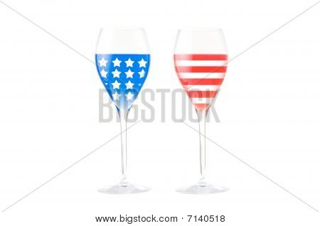 USA flag made with glasses