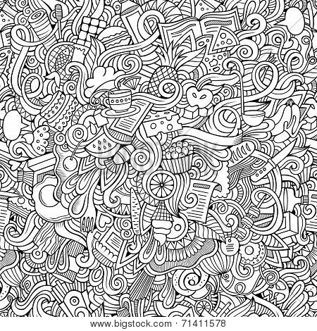 doodles hand drawn food seamless pattern
