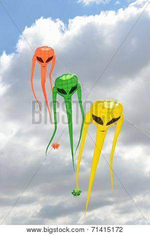 Three space invader kites in line