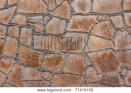 Wall From A Natural Stone With Cement Seams