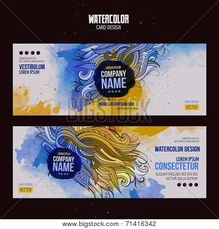 Vector watercolor baners