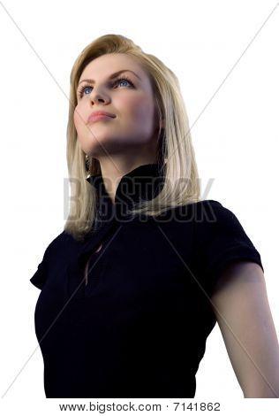 Atractiva rubia aislado