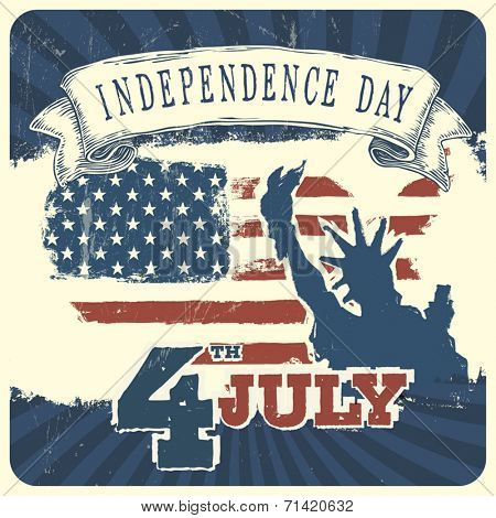 Vintage style Poster for Independence Day Celebration. Vector, EPS10