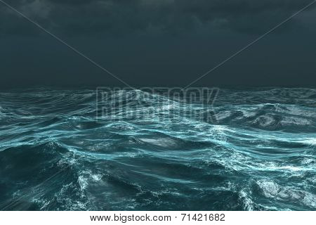 Digitally generated rough stormy ocean under dark sky