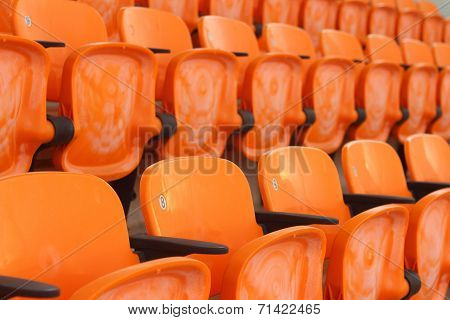 Seat Grandstand In An Empty Stadium