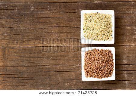 Hemp seeds and Buckwheat