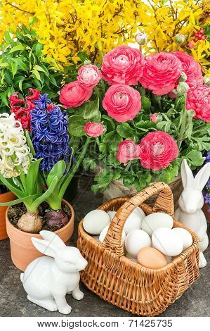 Spring Flowers With Easter Home Interior Decoration