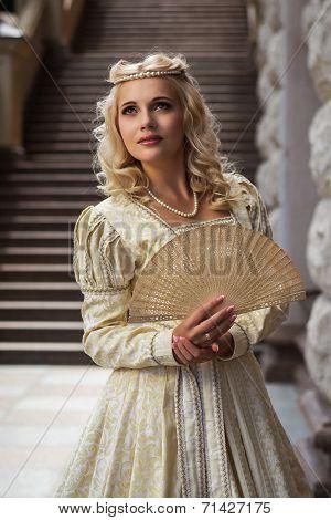 Beautiful woman in vintage dress