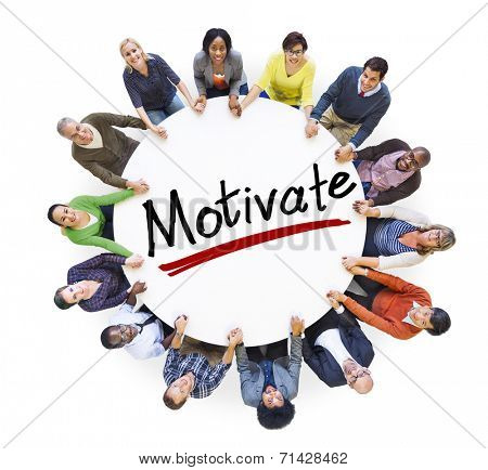 Group of People Holding Hands Around Letter Motivate