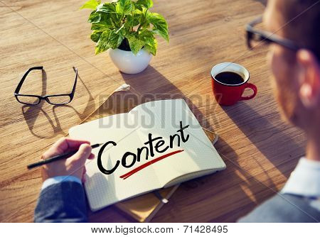 Businessman Writing the Word Content