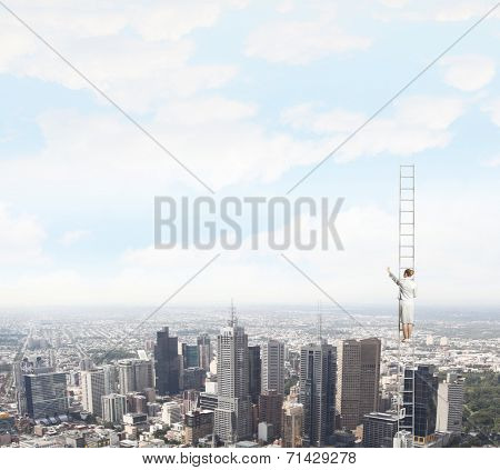 Businesswoman standing on ladder high above city