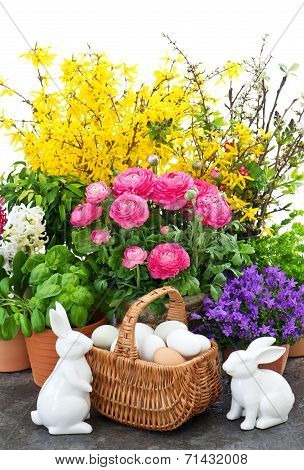 Easter Bunny Couple And Spring Flowers Decoration