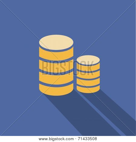 Vector coins icon isolated on colored background