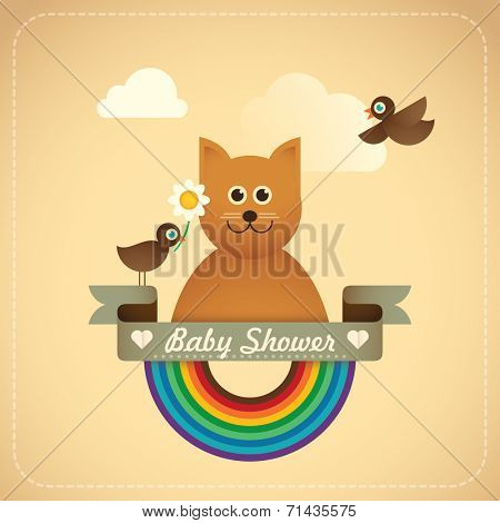 Baby shower illustration with comic cat. Vector illustration.