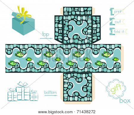 Printable Gift Box With Mosaic Pattern And Fishes