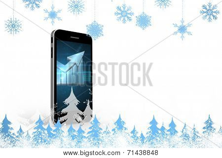 Snowflakes and fir trees against arrow on smartphone screen