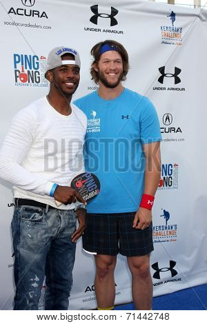 LOS ANGELES - SEP 4:  Chris Paul, Clayton Kershaw at the Ping Pong 4 Purpose Charity Event at Dodger Stadium on September 4, 2014 in Los Angeles, CA