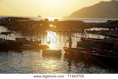 sunset at hong kong fishing village