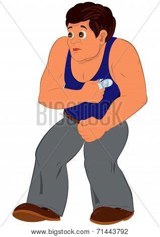 Cartoon Man In Blue Sleeveless Top Walking