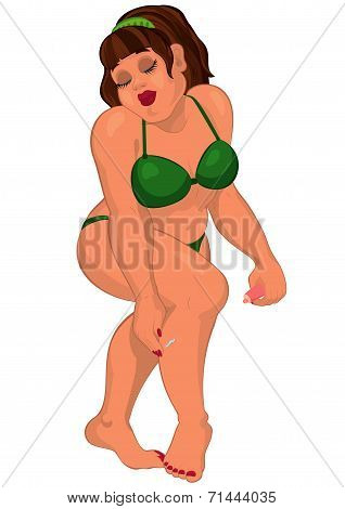 Cartoon Overweight Young Woman In Swimsuit Applying Sun Block