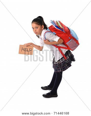 Sweet Little Girl Carrying Very Heavy Backpack Or Schoolbag Full Of School Material