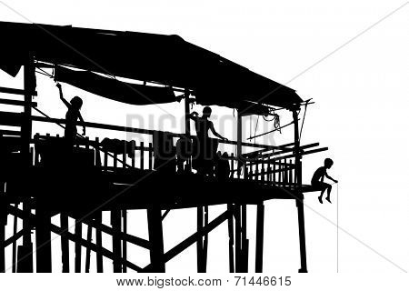 Editable vector silhouette of a family in their shack on stilts with people as separate objects