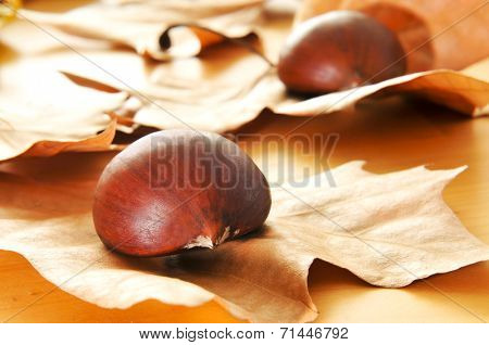 some chestnuts and autumn leaves on a wooden table