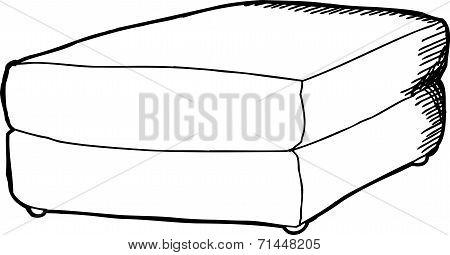 Black Outline Footstool