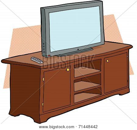 Tv On Wooden Console